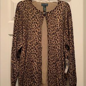 Leopard print Lauren Ralph Lauren cardigan -3x NWT